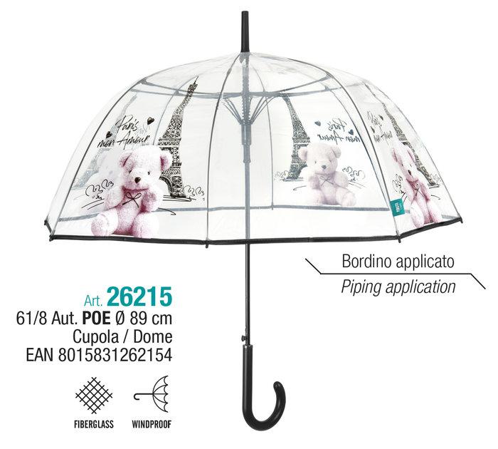 Paraguas mujer 61/8 automatico cupula transparente paris