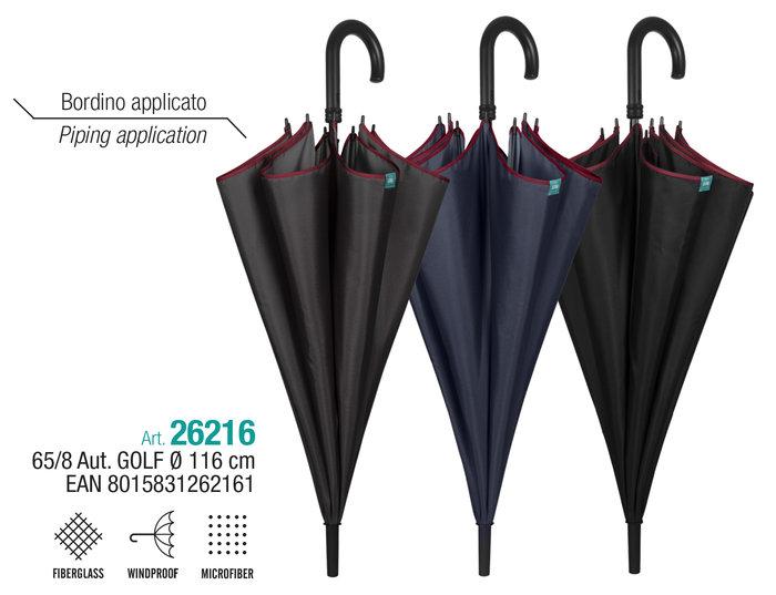 Paraguas hombre gof 65/8 automatico liso  borde granate