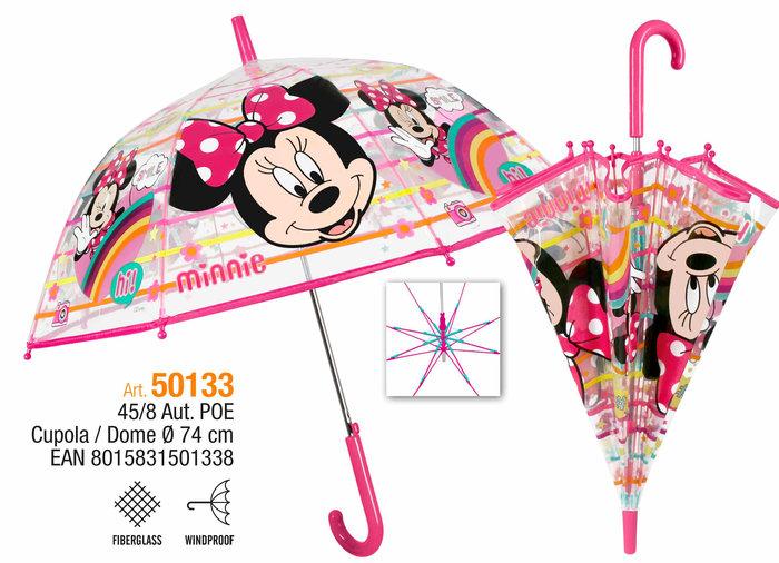 Paraguas infantil 45/8 automatico cupula transparente minnie