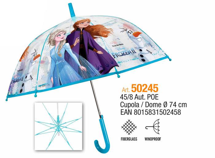 Paraguas infantil 45/8 automatico cupula transparente frozen