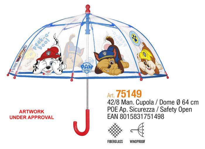 Paraguas infantil 42/8 manual cupula transparente paw patrol