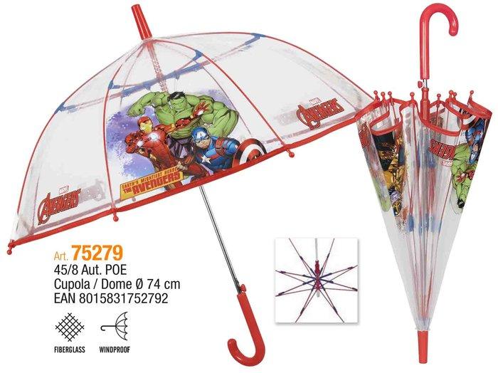 Paraguas infantil 45/8 automatico cupula transparente avenge