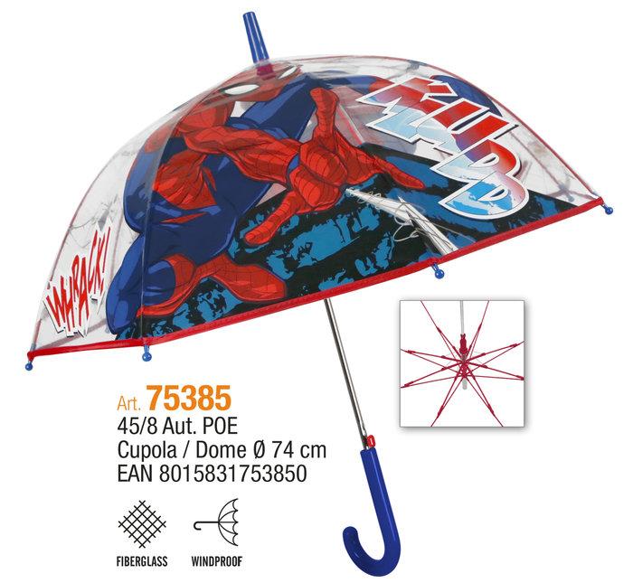 Paraguas infantil 45/8 automatico cupula transparente spider