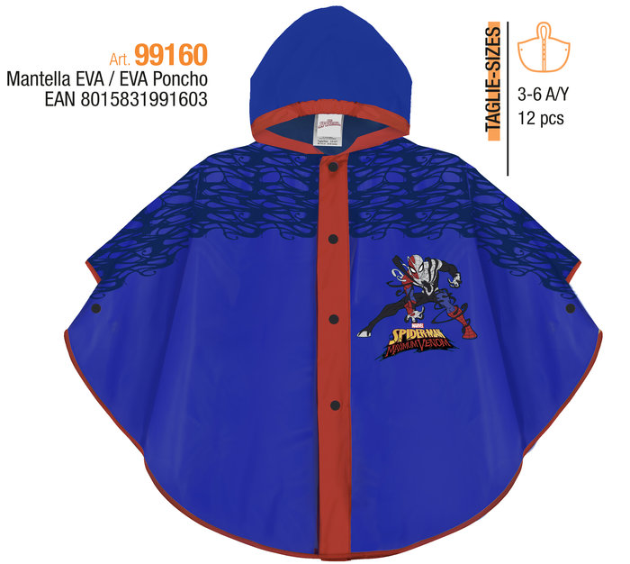 Poncho impermeable spiderman