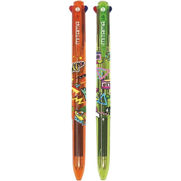 Boligrafo 4 colores trendy 12 unid