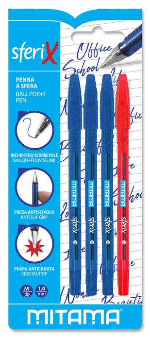 Boligrafo mitama punta 1.0mm blister 3 azules + 1 rojo