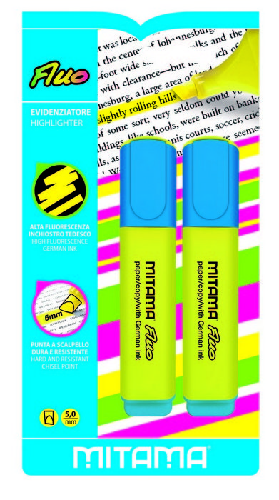 Marcadores fluor 5.0mm amarillo blister 2 uds