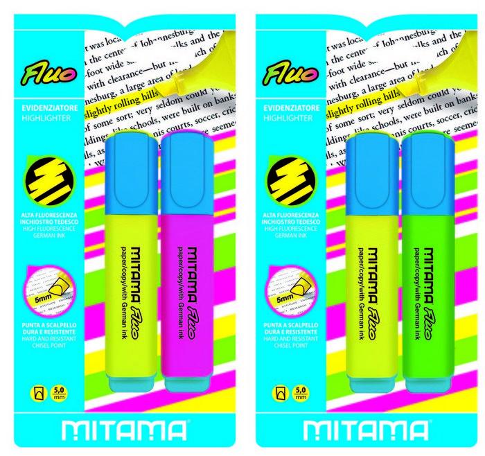 Marcadores fluor 5.0 mm surtido blister 2 uds