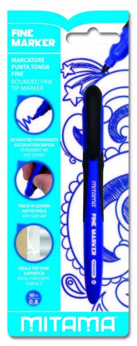 Rotulador permanente azul punta fina 0.8 mm