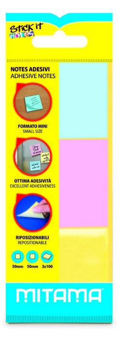Notas adhesivas pastel 50 x 50 mm 100 h blister 3 uds