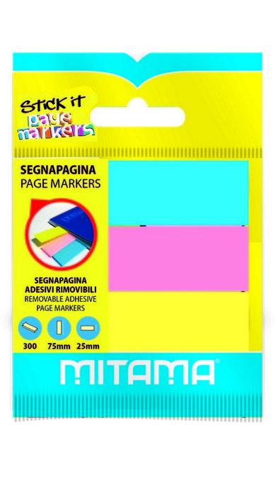 Notas adhesivas marcapaginas 75 x 25 mm 100h blister 3 uds