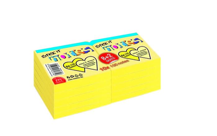 Notas adhesivas 75 x 75 mm 100 h amarillo blister 8+2 grati