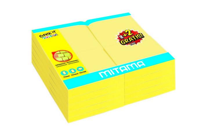 Notas adhesivas 75 x 125 mm 100 h amarillo blister 8+2 grat