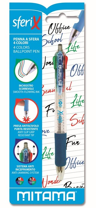 Boligrafo mitama 4 colores retractil punta 0.7 mm