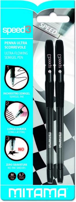 Boligrafo negro semi-gel punta 0.7 mm blister 2 uds