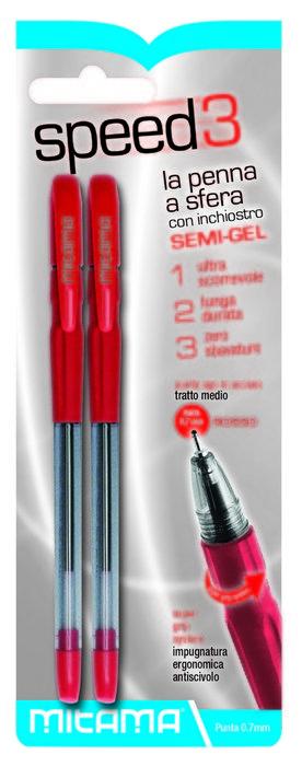 Boligrafo rojo semi-gel punta 0.7 mm blister 2 uds