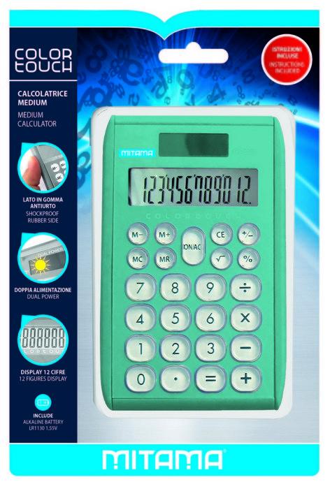 Calculadora mitama pocket 12 digitos color metalizado surt