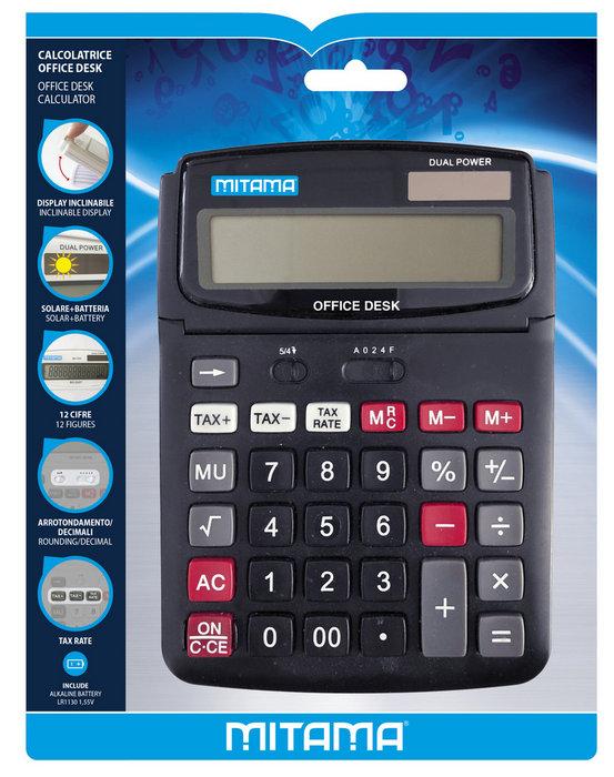 Calculadora de oficina mitama 12 digitos ajustable surtido