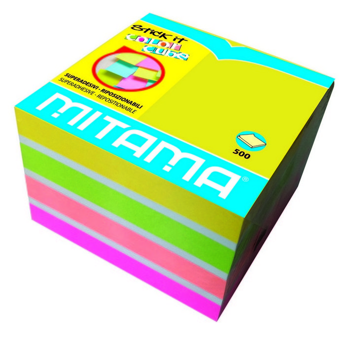 Notas adhesivas colores fluor 75 x 75 mm 500 h surtidos
