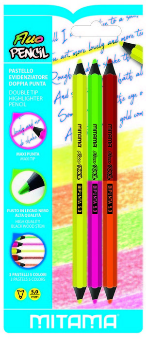 Lapices jumbo neon doble punta blister 3 colores