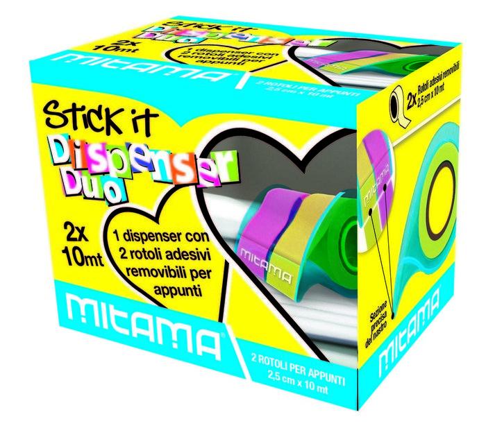 Dispensador marcapaginas 2,5 cm x 10 m colores