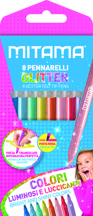 Rotuladores triangulares super glitter 8 colores