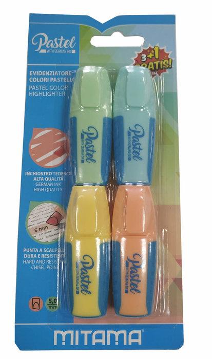 Marcadores pastel mini 5.0 mm bl 3+1 colores surtidos