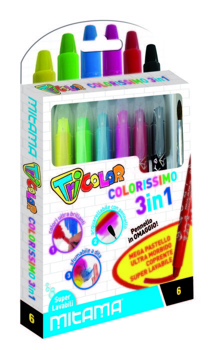 Ceras acuarelables super lavables 6 colores y pincel gratis