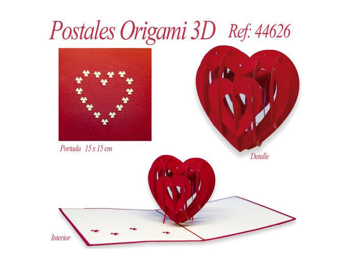 Postal 3d origami corazon