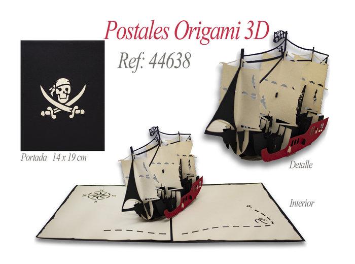 Postal 3d origami barco pirata