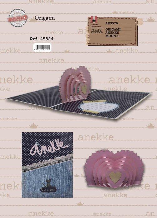 Postal 3d origami anekke corazon