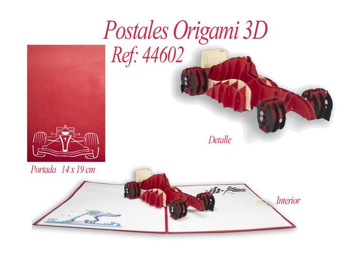 Postal 3d origami coche carreras