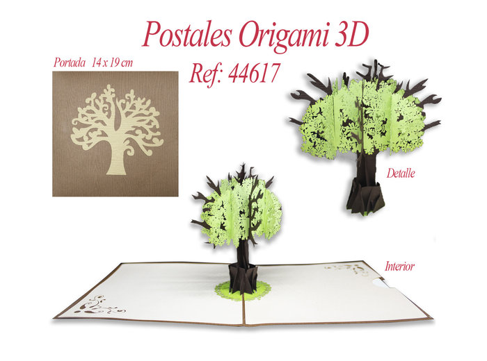 Postal 3d origami arbol