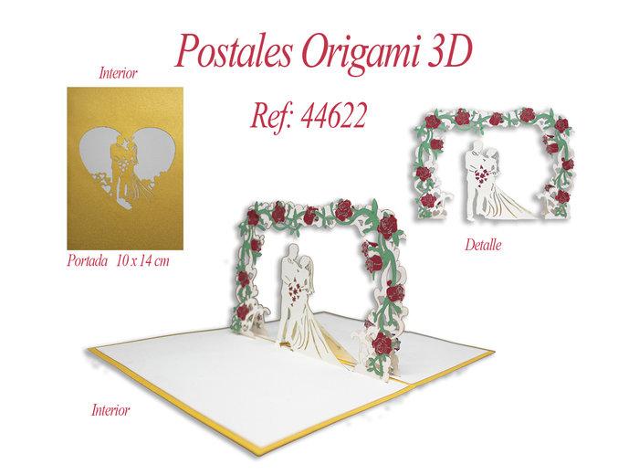 Postal 3d origami boda
