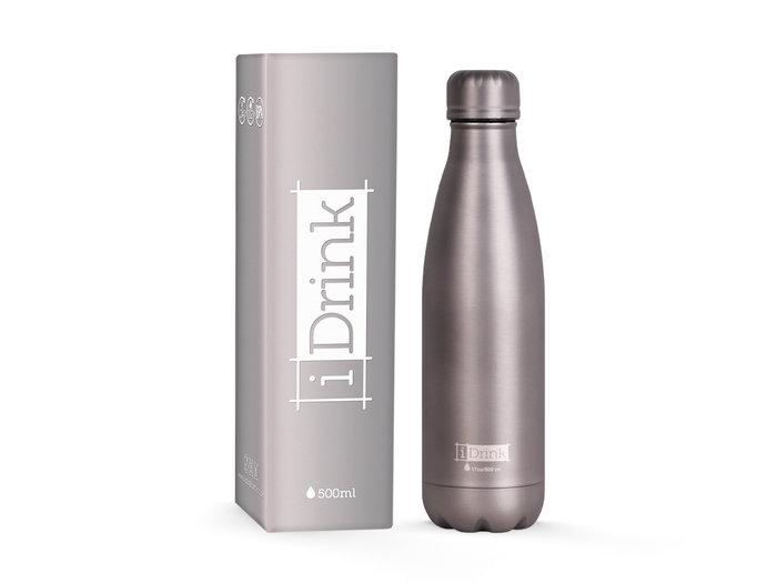 Botella acero inoxidable termica 500ml metalizada gris