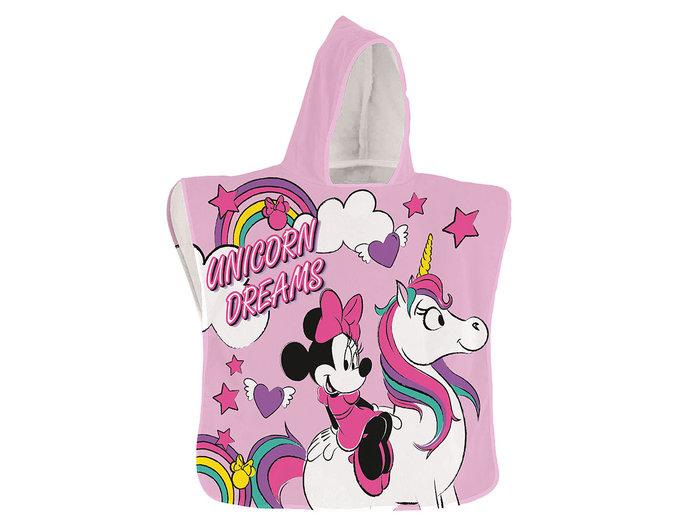 Poncho toalla playa infantil minnie unicornio