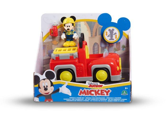 Mickey figura + vehiculo 2 modelos (coche - camion bomberos)