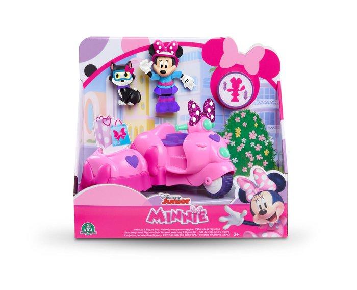 Minnie figura + vehiculo 2 modelos (vespa - coche)