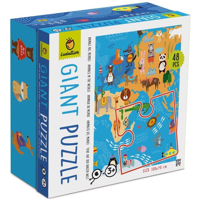 Puzzle gigante animales en el mundo 48 piezas