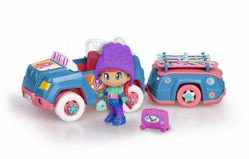 Pinypon. coche nieve con remolque