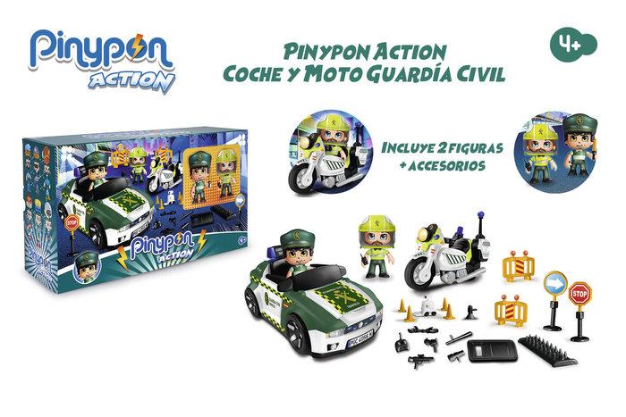 Pinypon action. set guardia civil coche y moto