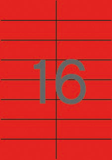 Etiquetas rojas permanentes 105,0 x 37,0 mm 20 hojas