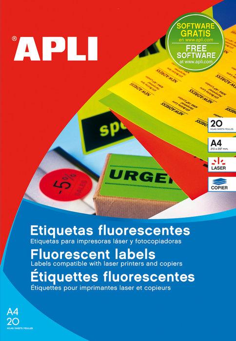 Etiquetas verde fluorescente permanentes 64x33,9 mm 20hojas