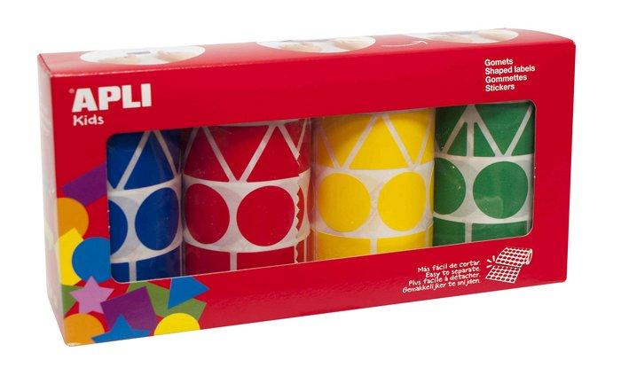 Rollos de gomets figuras geometricas xl surtidos 4 unidades