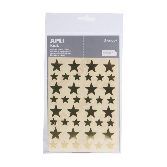 Gomets estrella oro bolsa 3 hojas/120 ud