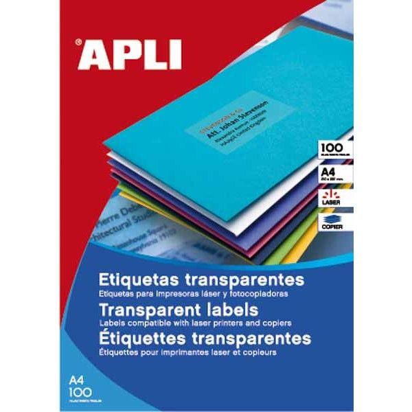 Etiqueta impresora transparente 210x297 adhesiva 100 u.
