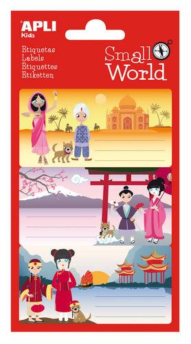 Etiqueta escolar adhesiva india japon y china