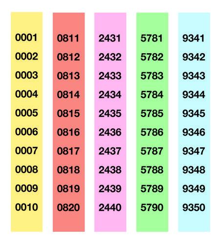 Talonario rifa a-980/5 de 1 a 5000
