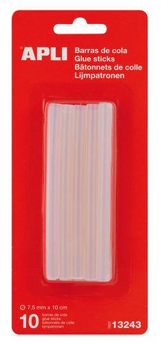 Barra silicona cola recambio 10cm x 7,5mm blister 10 unid