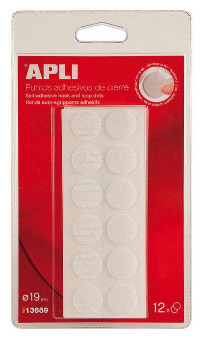Discos adhesivos cierre velcro 19 mm blister 12 uds